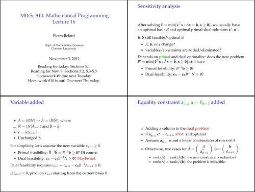 MthSc 810: Mathematical Programming Lecture 16 Sensitivity ...