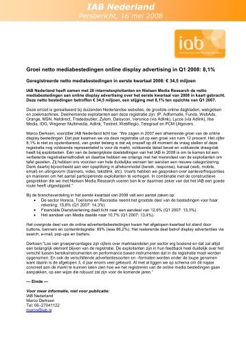 Groei netto mediabestedingen online display advertising ... - Nielsen