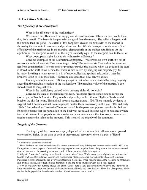 17. The Citizen & the State The Efficiency of the Marketplace What is ...