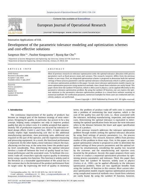 Development of the parametric tolerance modeling and optimization ...