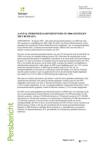 Aantal personeelsadvertenties in 2006 gestegen met 42% - Nielsen