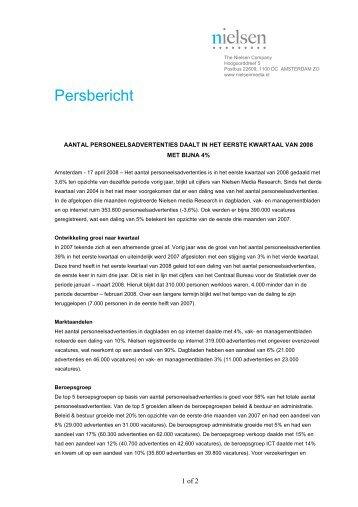Aantal personeelsadvertenties in het eerste kwartaal van ... - Nielsen