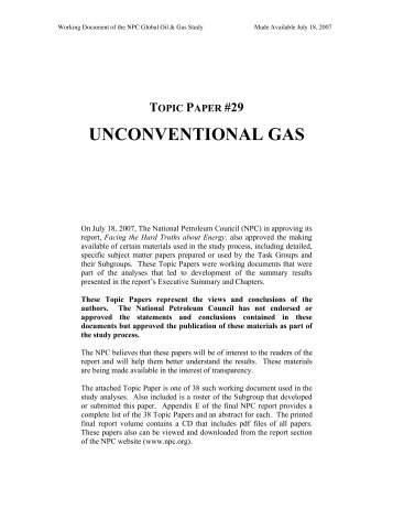 UNCONVENTIONAL GAS - The National Petroleum Council
