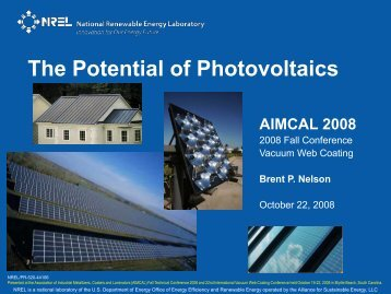The Potential of Photovoltaics (Presentation)