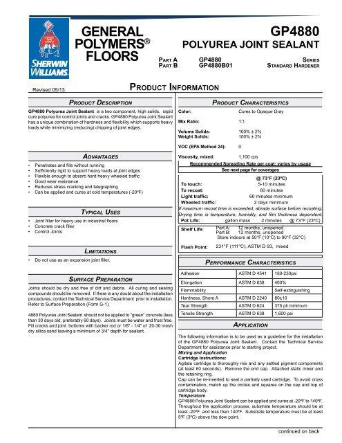 gp4880 polyurea joint sealant