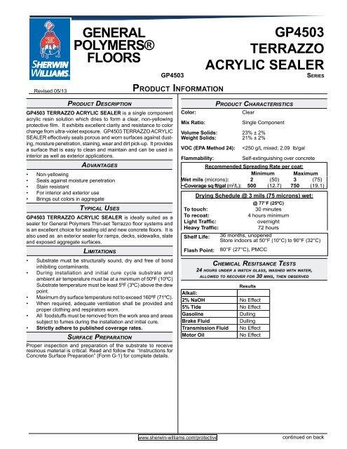 Gp4503 Terrazzo Acrylic Sealer General Polymers Floors