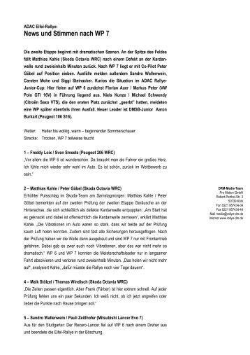 News und Stimmen nach WP 7 - Deutsche Rallye-Meisterschaft