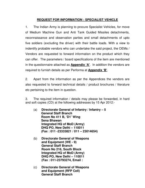 Request for Information Specialist Vehicle - Indian Army