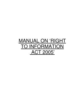 MANUAL ON 'RIGHT TO INFORMATION ACT 2005' - Indian Army