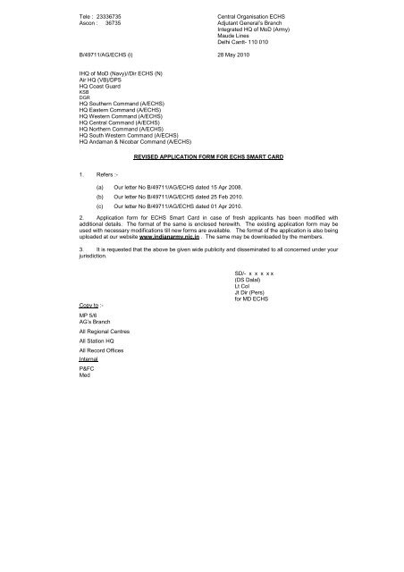 Revised application form for echs smart card - Indian Army
