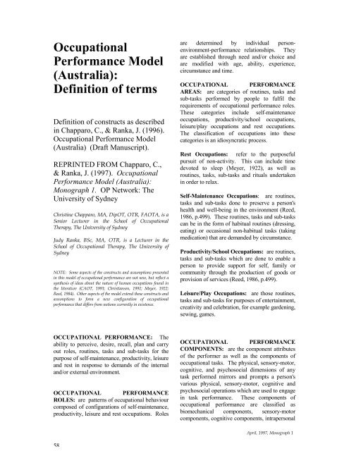 Occupational Performance Model Australia Definition Of Terms