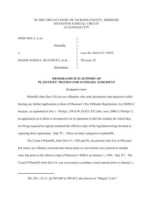 Memorandum in Support of Plaintiff's Motion for Summary Judgment