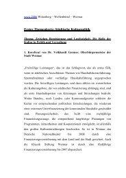 Erster Themenkreis: Städtische Kulturpolitik - Weimar