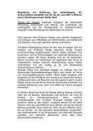 Begrüßung des Oberbürgermeisters Stefan Wolf zur ... - Weimar