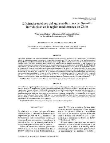 Eficiencia en el uso del agua en diez taxa de Opuntia introducidas ...