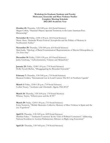 2012-2013 Complete Workshop Schedule - Center for Holocaust ...