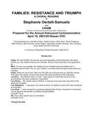 FAMILIES: RESISTANCE AND TRIUMPH Stephanie Oertelt-Samuels