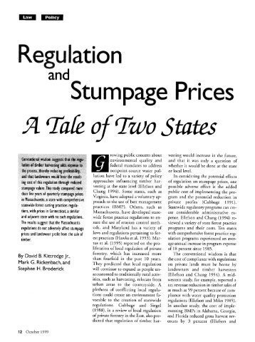 Regulation and Stumpage Prices: A Tale of Two ... - Harvard Forest