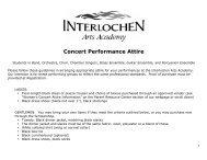 Concert Performance Attire - Interlochen Arts Academy High School