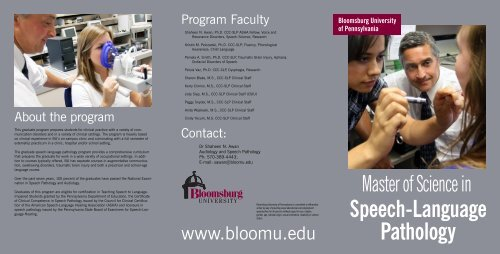 Speech-Language Pathology - Bloomsburg University