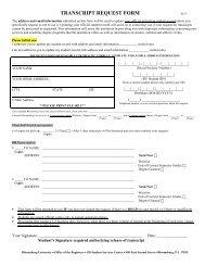 Transcript Request Form - Bloomsburg University