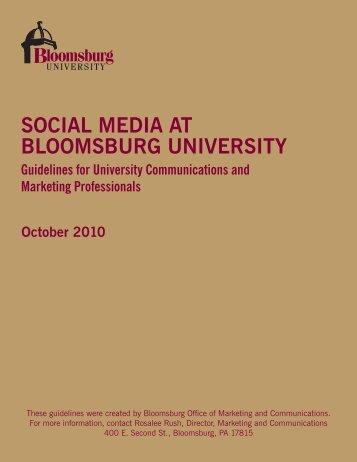 Social Media Guidelines - Bloomsburg University
