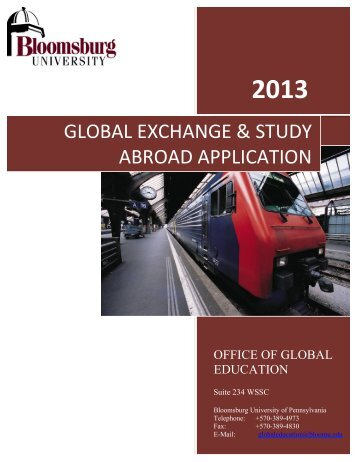 global exchange & study abroad application - Bloomsburg University