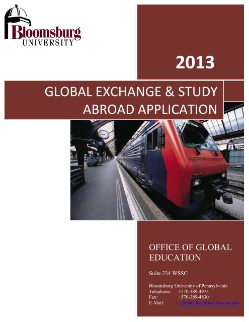 ferpa form bloomsburg university  global exchange & study abroad application - Bloomsburg ...