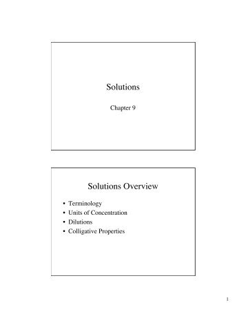 Solutions Solutions Overview