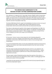 the greens nsw submission to the review of nsw's victims ...
