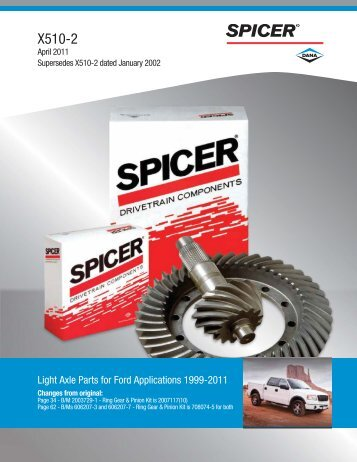 Light Axle Parts for Ford Applications - Spicer