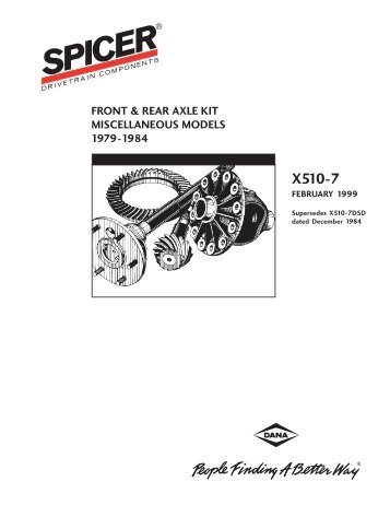 front & rear axle kit miscellaneous models 1979 - Spicer