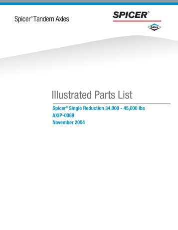 Spicer® Tandem Axles Illustrated Parts List AXIP-0089