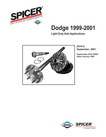 Dodge 1999-2001 Light Duty Axle Applications - Spicer