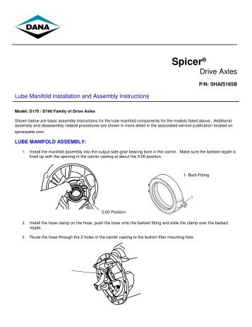 Lube Manifold Installation and Assembly Instructions - Spicer