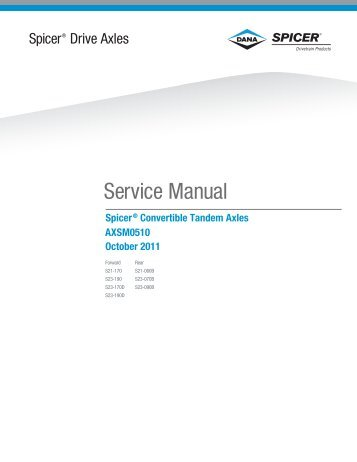 2011 Spicer Drive Axles Service Manual