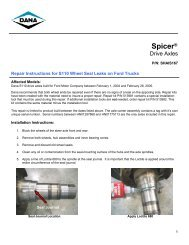 Repair Instructions for S110 Wheel Seal Leak - Spicer