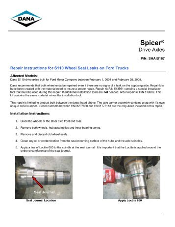 Repair Instructions for S110 Wheel Seal Leak - Spicer