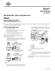work instructions – dana kit part number - Spicer