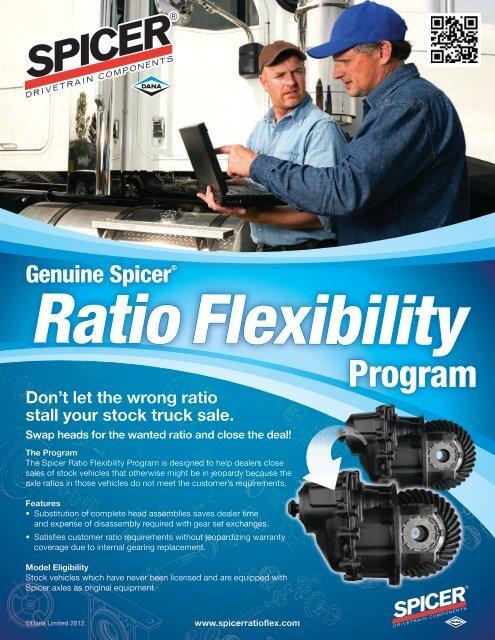 Spicer Ratio Flex Program Sheet