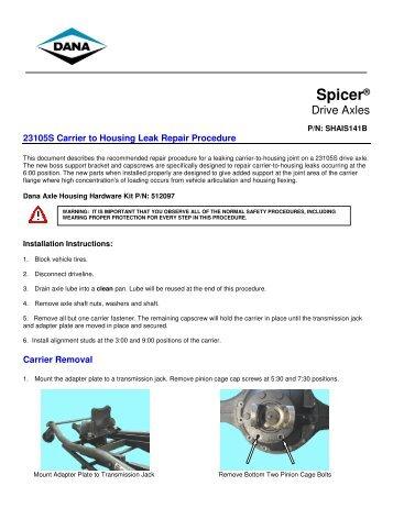 23105S Carrier to Housing Leak Repair Procedure - Spicer