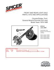 front and rear light axle parts, kits and applications - Spicer