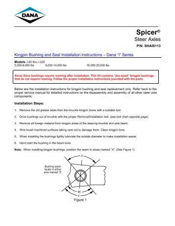 Kingpin Bushing and Seal Installation Instructions – Dana - Spicer
