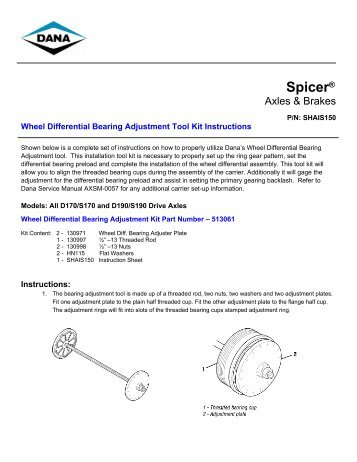 Wheel Differential Bearing Adjustment Tool Kit Instructions - Spicer
