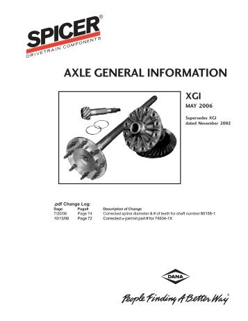2002 Spicer Axle General Information