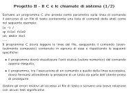 Progetto II - Il C e le chiamate di sistema (1/2)