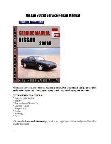 nissan 200sx service manual pdf