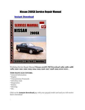 Nissan 200sx service repair manual | pdf flipbook.