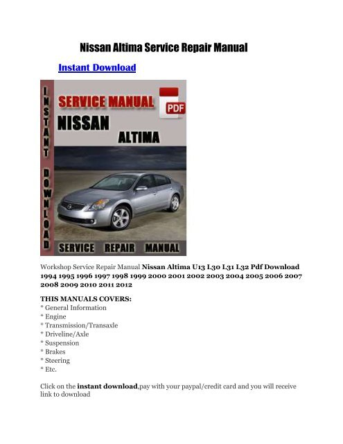 Nissan Altima Service Repair Manual