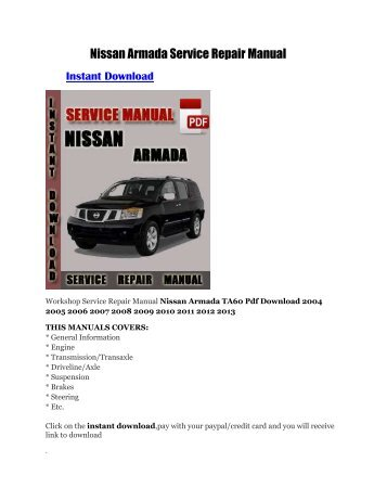 nissan armada 2004 2009 repair manual carfsm rh yumpu com 2004 nissan pathfinder repair manual pdf free 2004 nissan titan repair manual